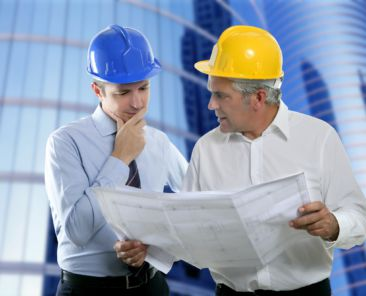 architect engineer two expertise team plan talking hardhat skyscraper buildings